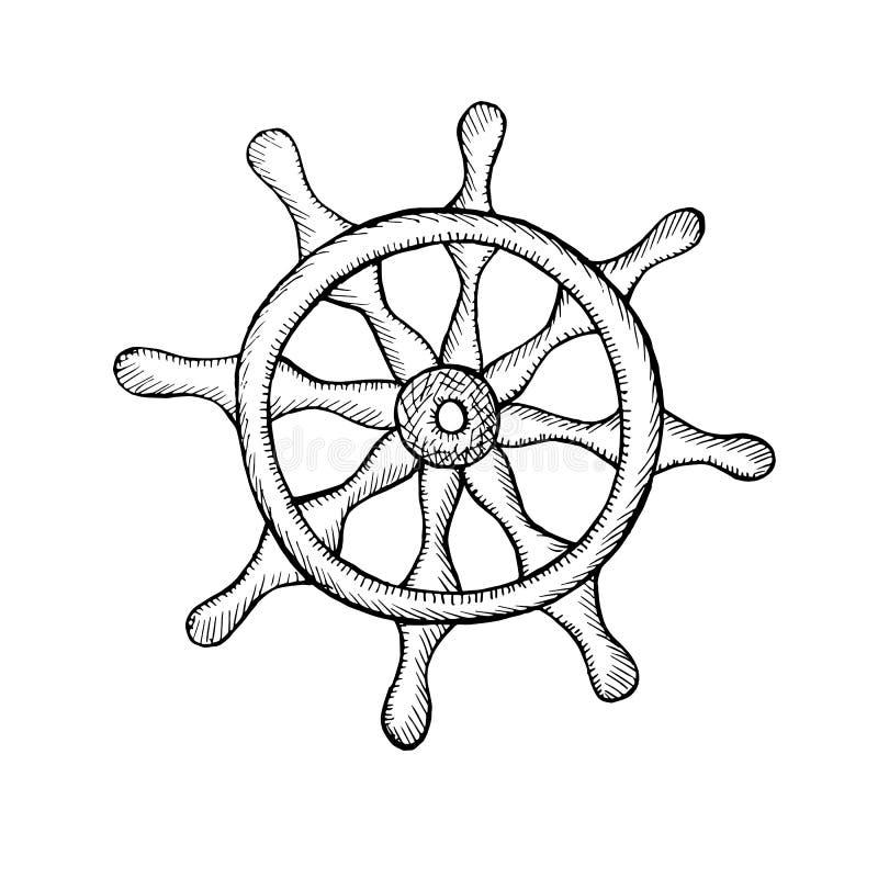 manejo Modelo monocromático del bosquejo en el fondo blanco stock de ilustración