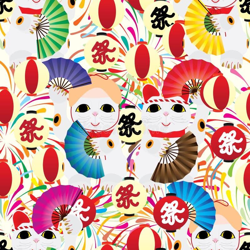 Maneki bonu Odori latarniowego fajerwerku bezszwowy wzór ilustracji