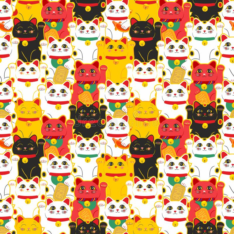 Maneki-neko cat. Seamless pattern with sitting hand drawn lucky cats. Japanese culture. Doodle drawing. Vector stock illustration