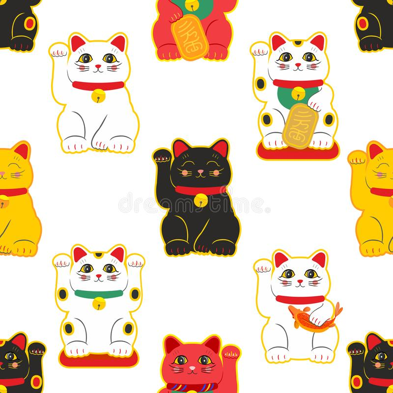 Maneki-neko cat. Seamless pattern with sitting hand drawn lucky cats. Japanese culture. Doodle drawing. Vector vector illustration