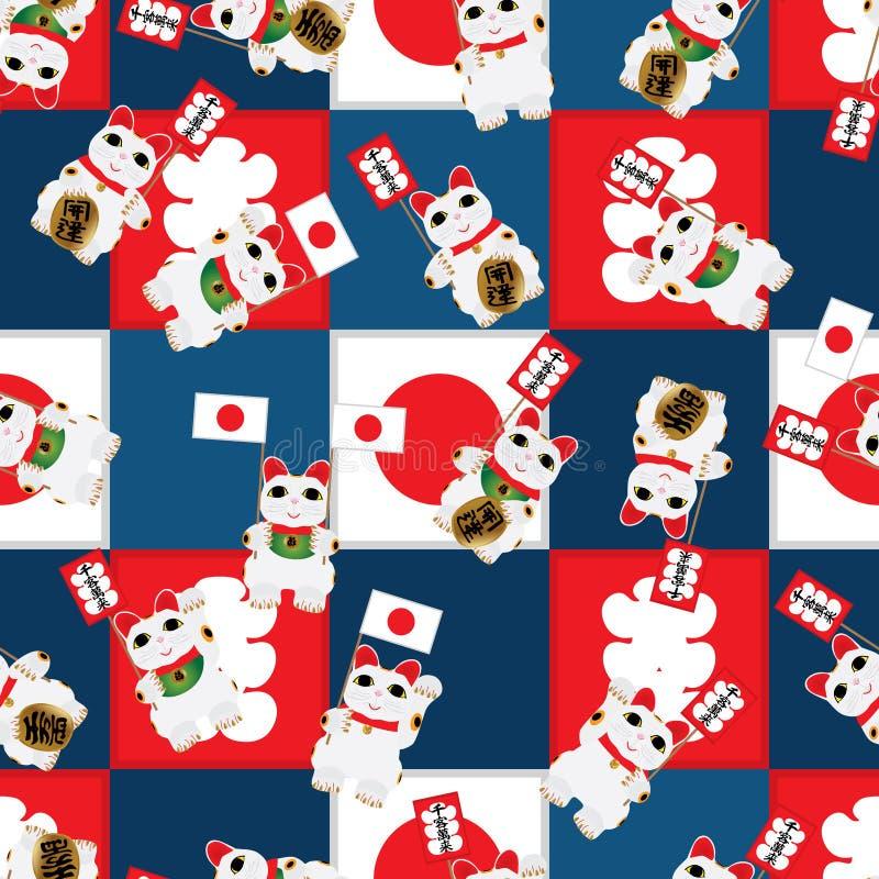 Maneki Neko chwyta flaga rocznika kwadrata bezszwowy wzór ilustracja wektor