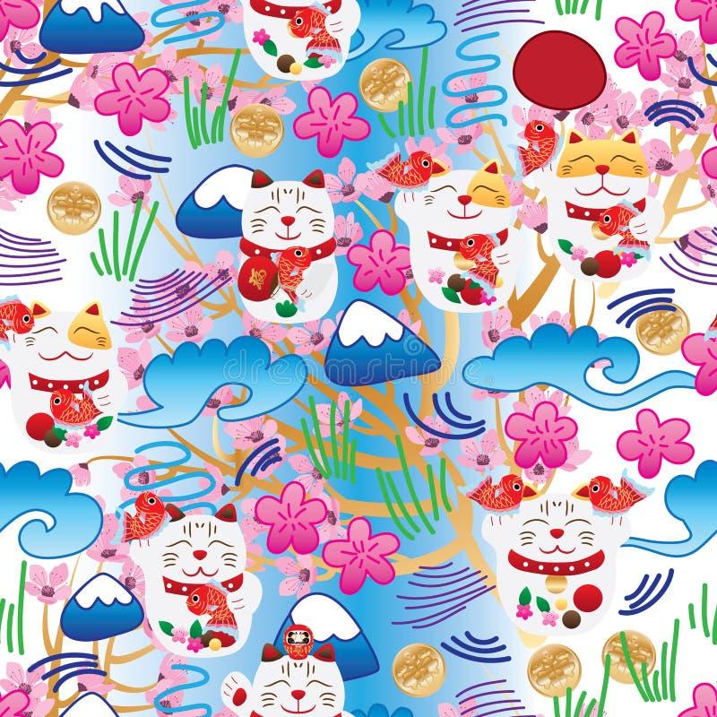Maneki Neko fat Japanese doddle cherry blossom seamless pattern. This illustration is design Maneki Neko with doddle Japanese style background with cherry flower stock illustration