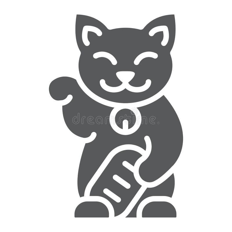 Maneki neko glifu ikona, azjata i zwierzę, japoński kota znak, wektorowe grafika, bryła wzór na białym tle ilustracji