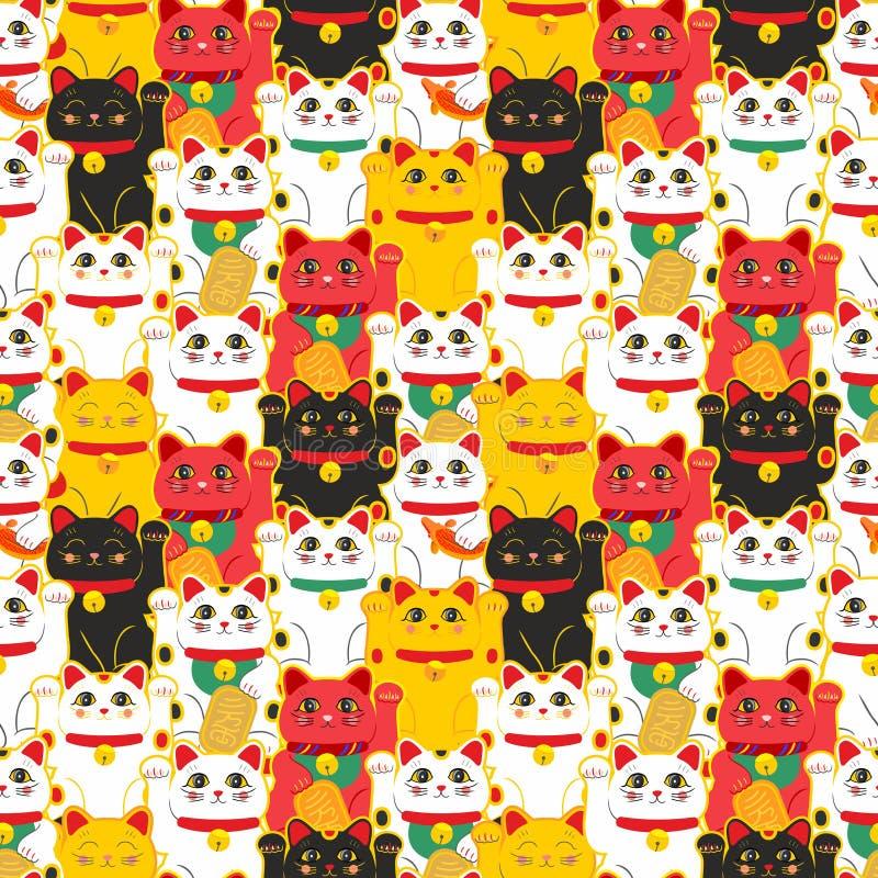 Maneki-neko katt Sömlös modell med drog lyckliga katter för sammanträde hand bunkepinnekultur isolerade japansk katana över white stock illustrationer
