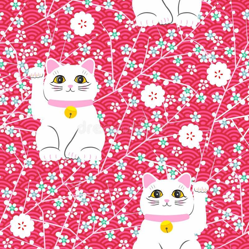 Maneki-neko kot Bezszwowy wzór z obsiadanie ręka rysującymi szczęsliwymi kotami pucharu chopsticks kultura odizolowywał nad biel  ilustracja wektor