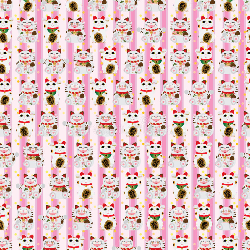 Maneki Neko para wszystkie szczęśliwy pionowo bezszwowy wzór ilustracja wektor