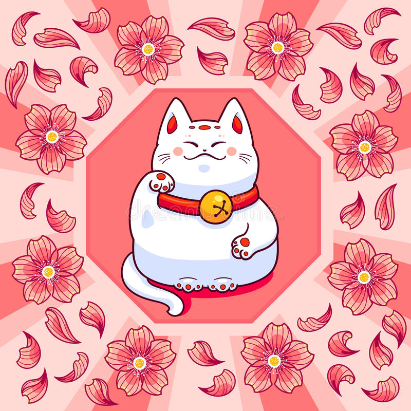 Maneki neko and sakura flowers stock illustration