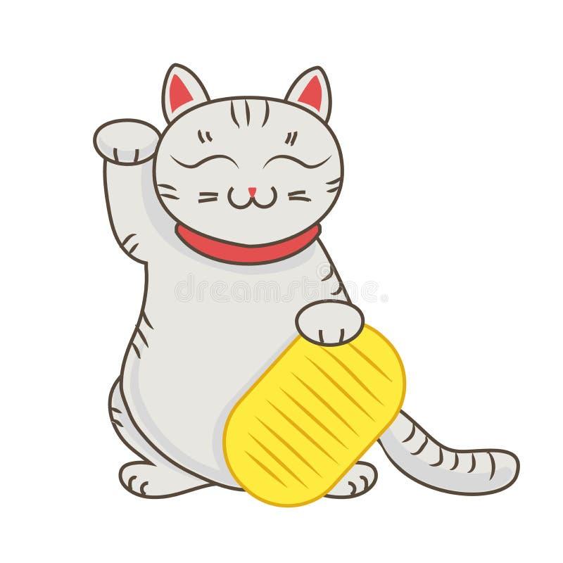 Manekineko/neco met tablet, een kat met een opgeheven symbool van het poot Japans geluk, illustratie, stock illustratie