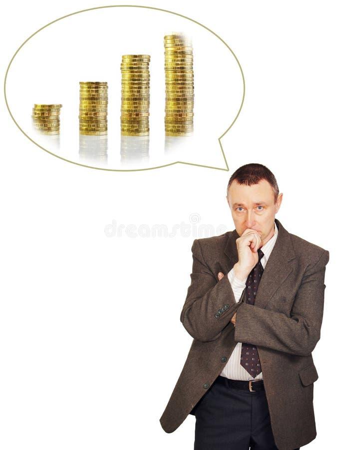 Manen är tänkande om inkomsttillväxt royaltyfri foto