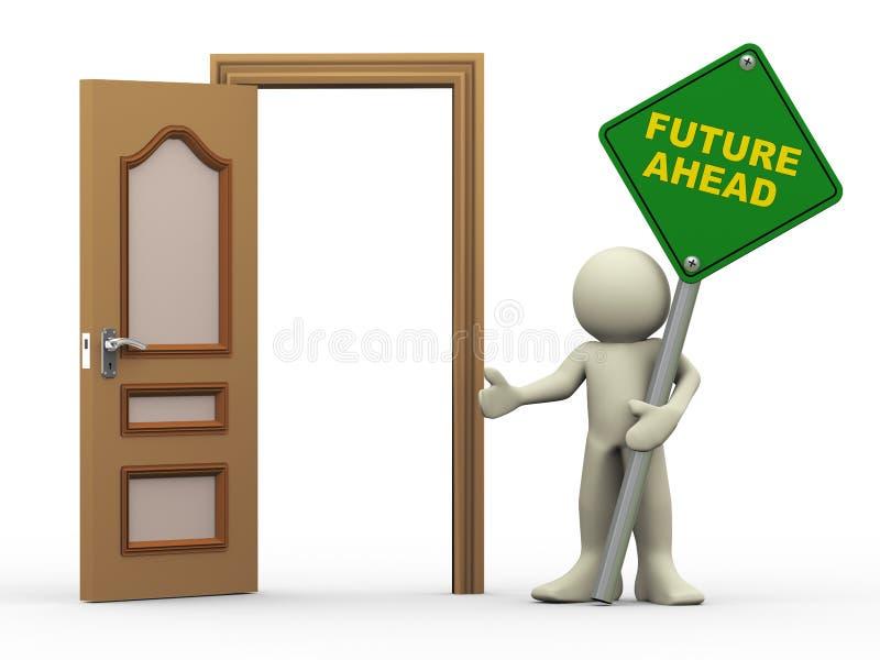 manen 3d, den öppna dörren och framtid framåt undertecknar royaltyfri illustrationer