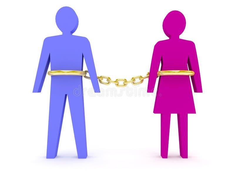 Manen och kvinnan som anknytas av guld-, kedjar. vektor illustrationer