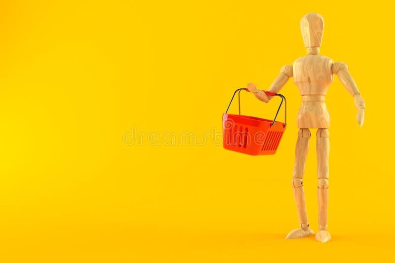 Manequim de madeira com cesto de compras ilustração do vetor