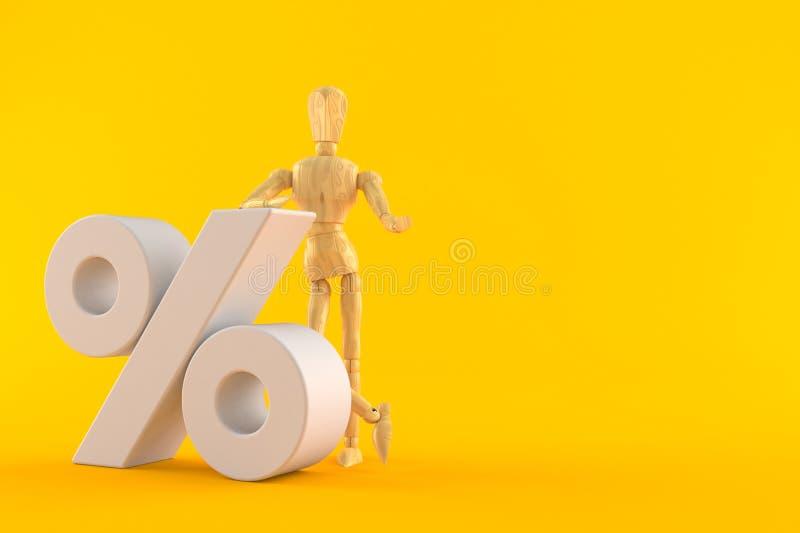 Manequim de madeira com símbolo dos por cento ilustração stock