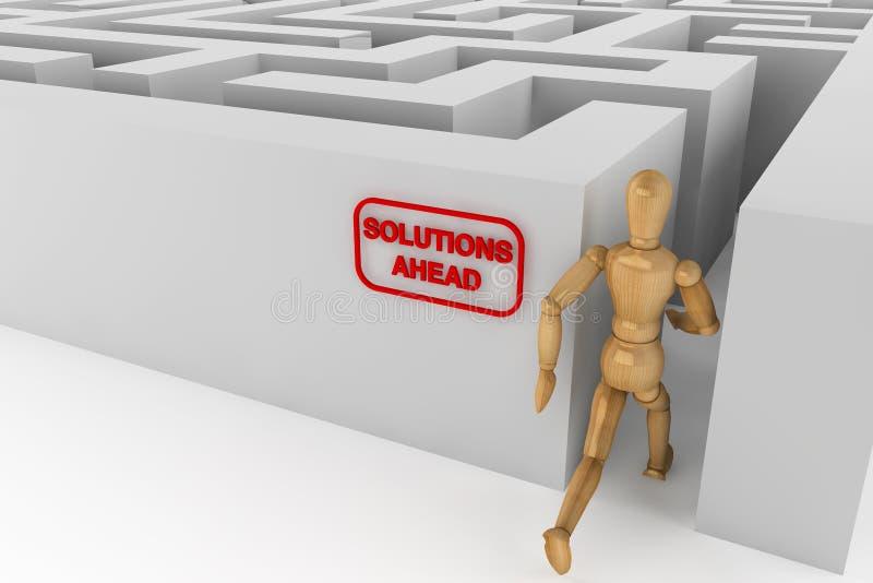 Manequim de madeira que runing à solução no labirinto ilustração stock
