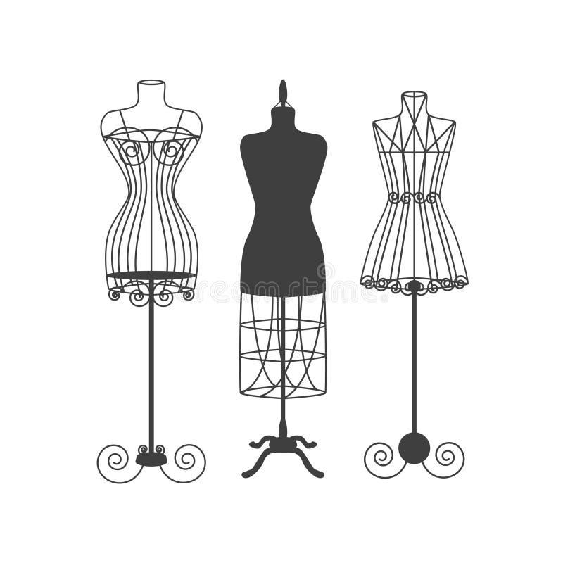 Manequim do vintage ou vetor preto da silhueta dos manequins ilustração stock
