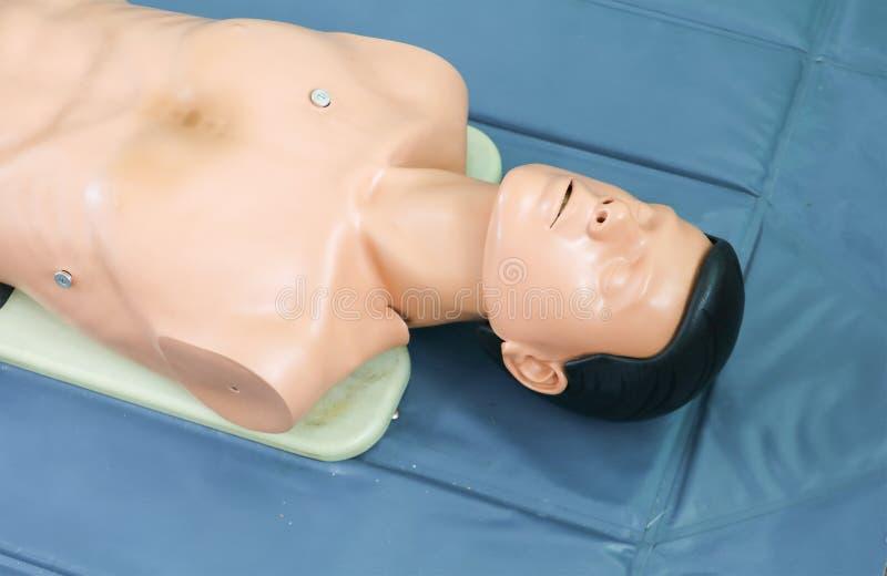 Manequim para o refresher médico do robô do CPR no treinamento à assistência do médico fotografia de stock