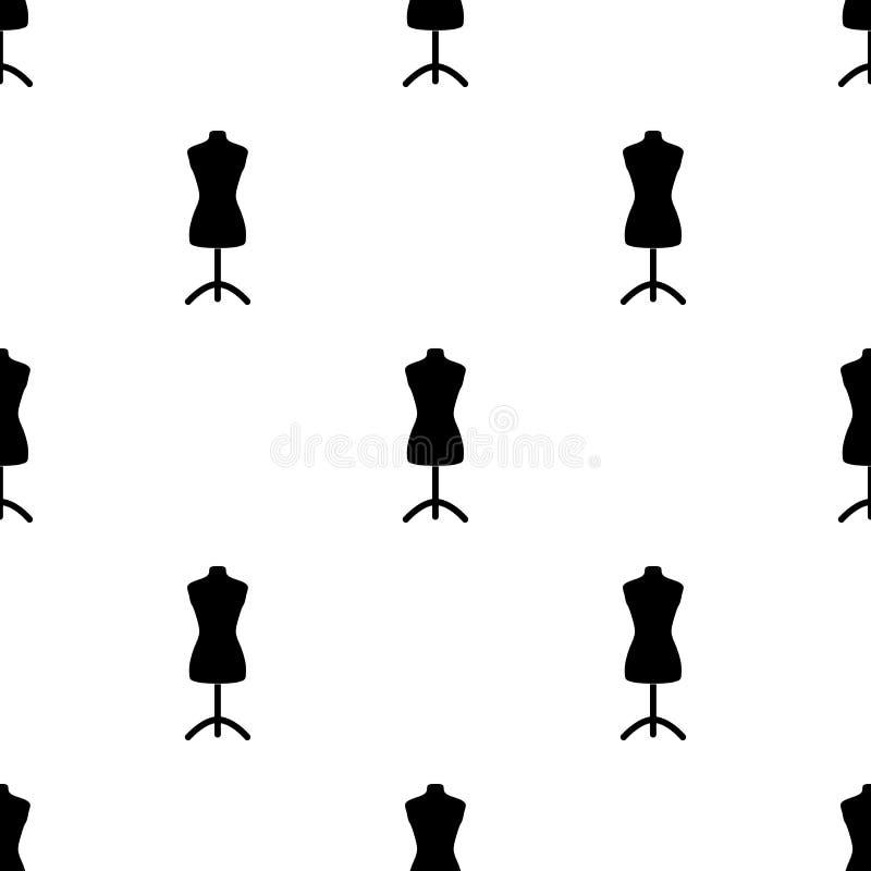 Manequim plástico no suporte Costurando ou costurando ícone do jogo de ferramentas o único no estilo preto vector a ilustração co ilustração royalty free