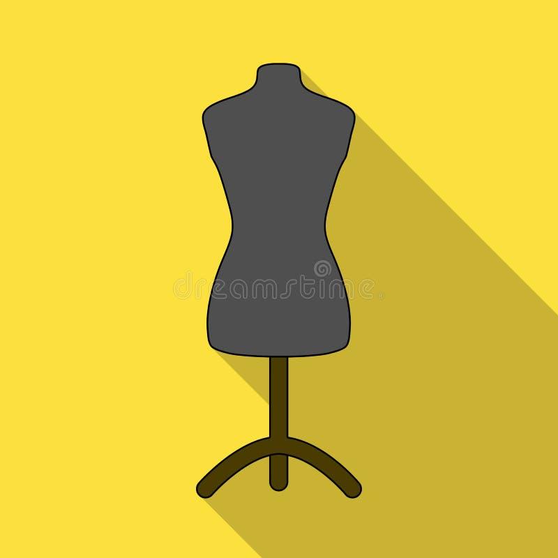 Manequim plástico no suporte Costurando ou costurando ícone do jogo de ferramentas o único no estilo liso vector a ilustração con ilustração do vetor