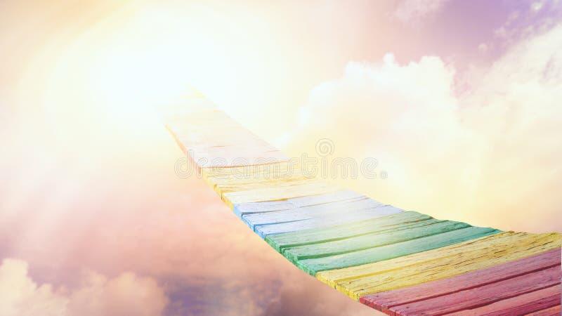 Manera al cielo Puesta del sol o salida del sol con las nubes, los rayos ligeros y el otro efecto atmosférico libre illustration