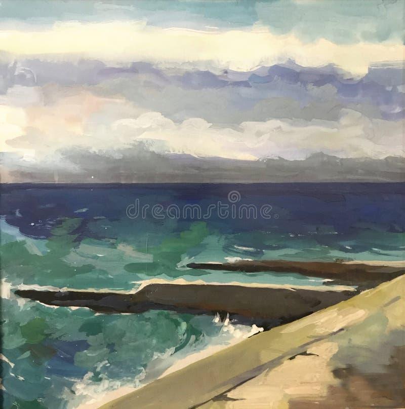 Manera azul brillante de dibujo de las vacaciones de las ondas verdes libre illustration