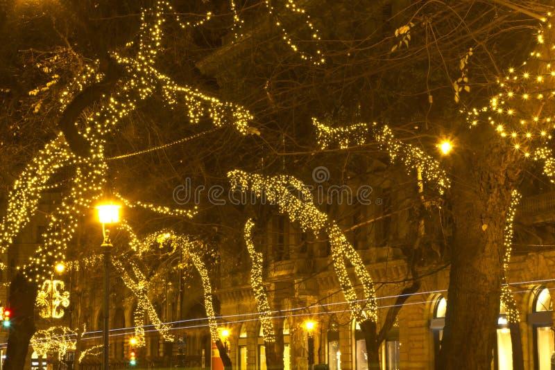 Manera de Andrassy en el christmastime imagen de archivo