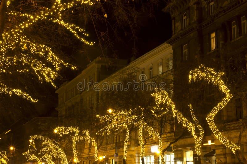 Manera de Andrassy en el christmastime imagen de archivo libre de regalías