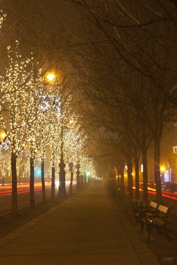 Manera de Andrassy en el christmastime fotos de archivo