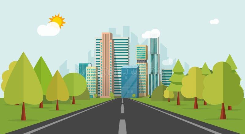 Manera de camino a los edificios de la ciudad en el ejemplo del vector del horizonte, estilo plano del paisaje urbano de la carre libre illustration