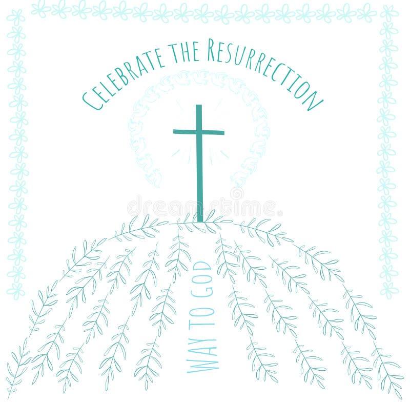 Manera de la tarjeta de felicitación de Pascua a dios stock de ilustración