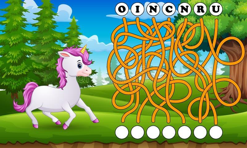 Manera del hallazgo del laberinto del unicornio del juego a la palabra ilustración del vector