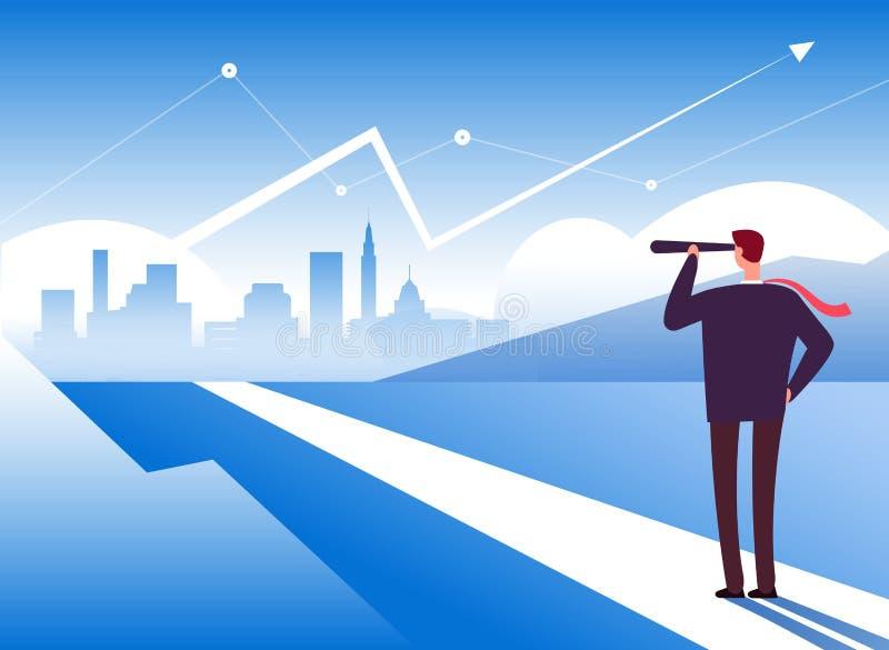 Manera del principio Hombre de negocios al principio del camino Oportunidad y dirección, beneficio y nuevo negocio de la motivaci stock de ilustración