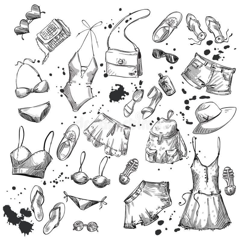 Manera del verano colección de ropa y de accesorios del verano stock de ilustración