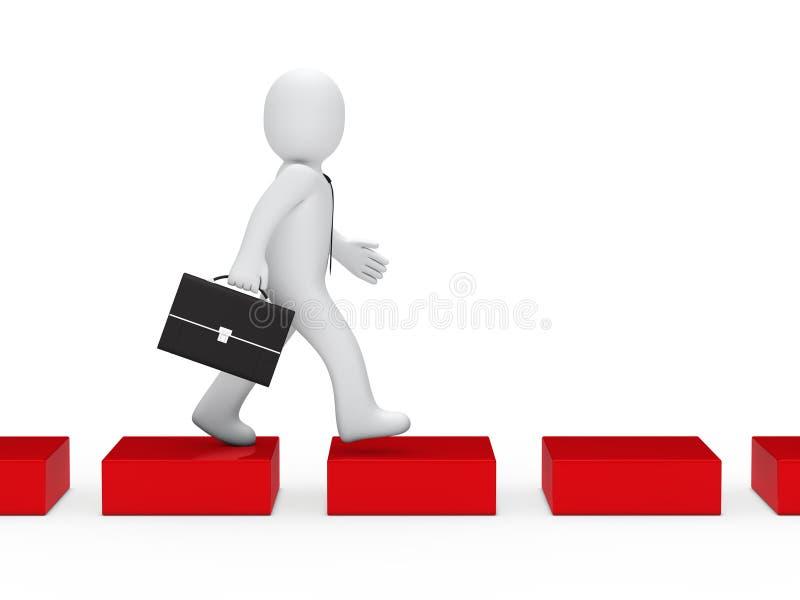 Manera roja del cubo del hombre de negocios ilustración del vector