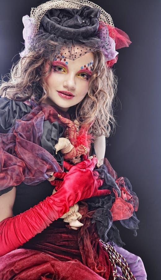 Manera tirada de mujer en estilo de la muñeca Maquillaje creativo El Dr. de la fantasía imagen de archivo