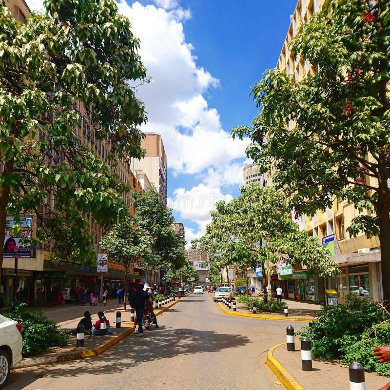 Manera a través de mamá Ngina Drive en centro de ciudad de Nairobi fotografía de archivo libre de regalías