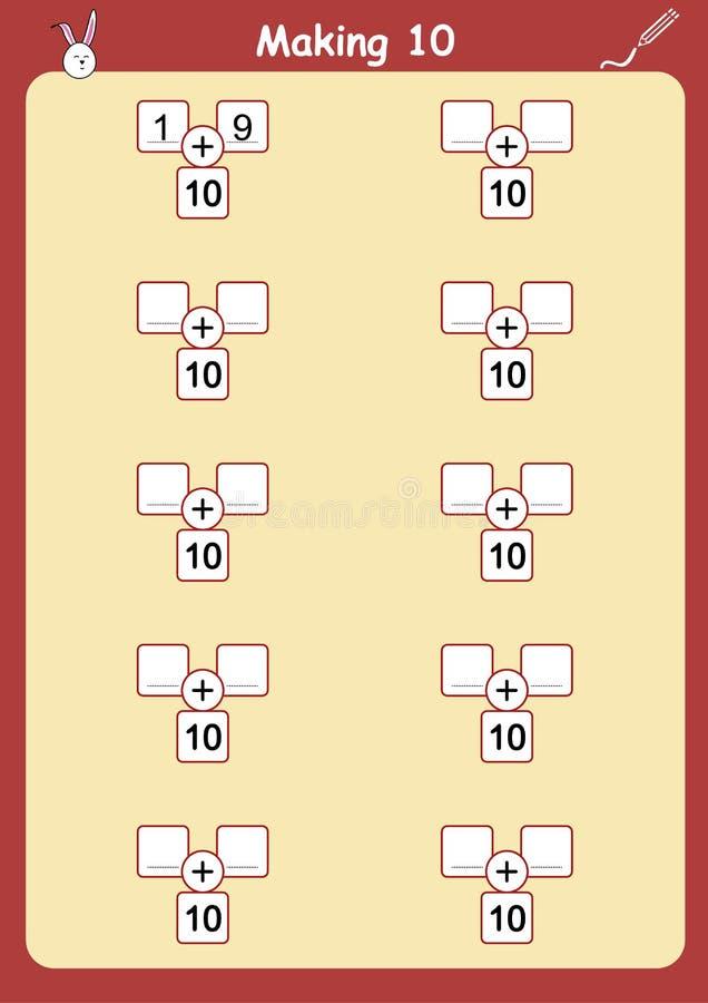 Maneras de hacer 10, hoja de trabajo de la adición para los niños ilustración del vector