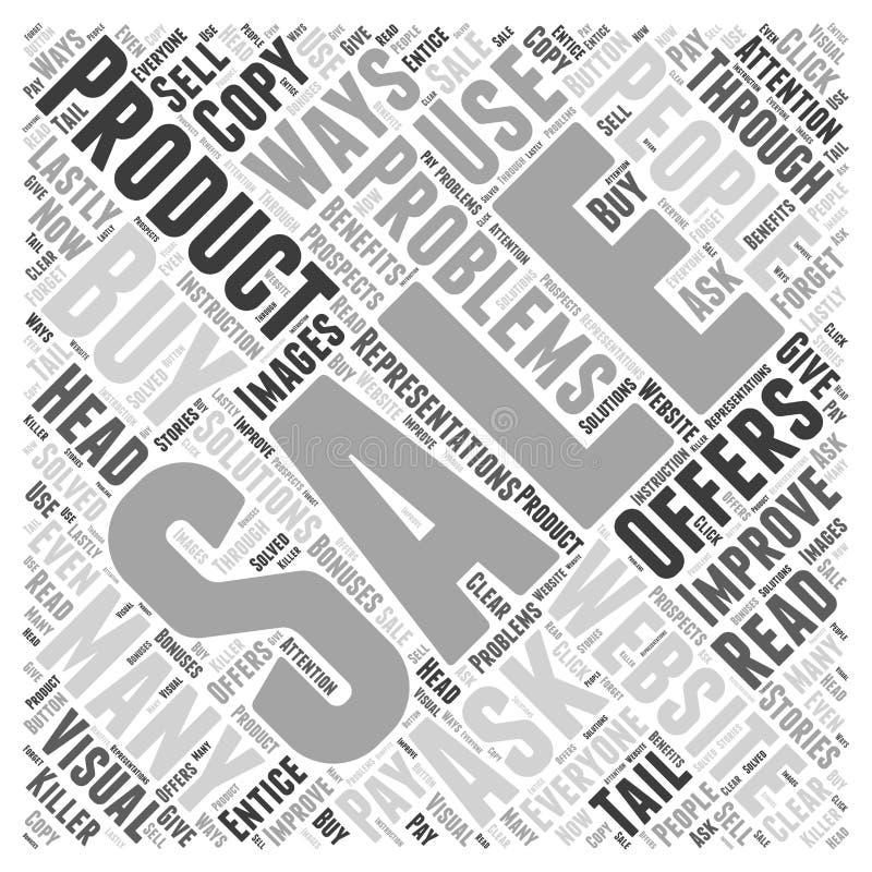 15 maneras de mejorar ventas con su palabra del sitio web se nublan el fondo del concepto ilustración del vector
