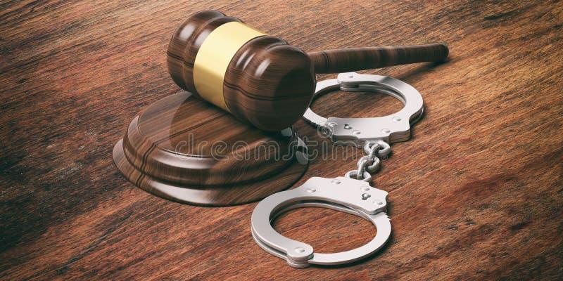 Manette del metallo e martelletto del giudice su fondo di legno, illustrazione 3d immagine stock libera da diritti