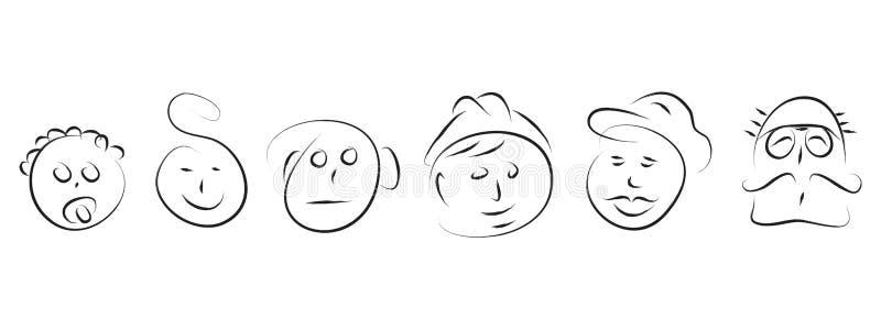 Manevolution royaltyfri illustrationer