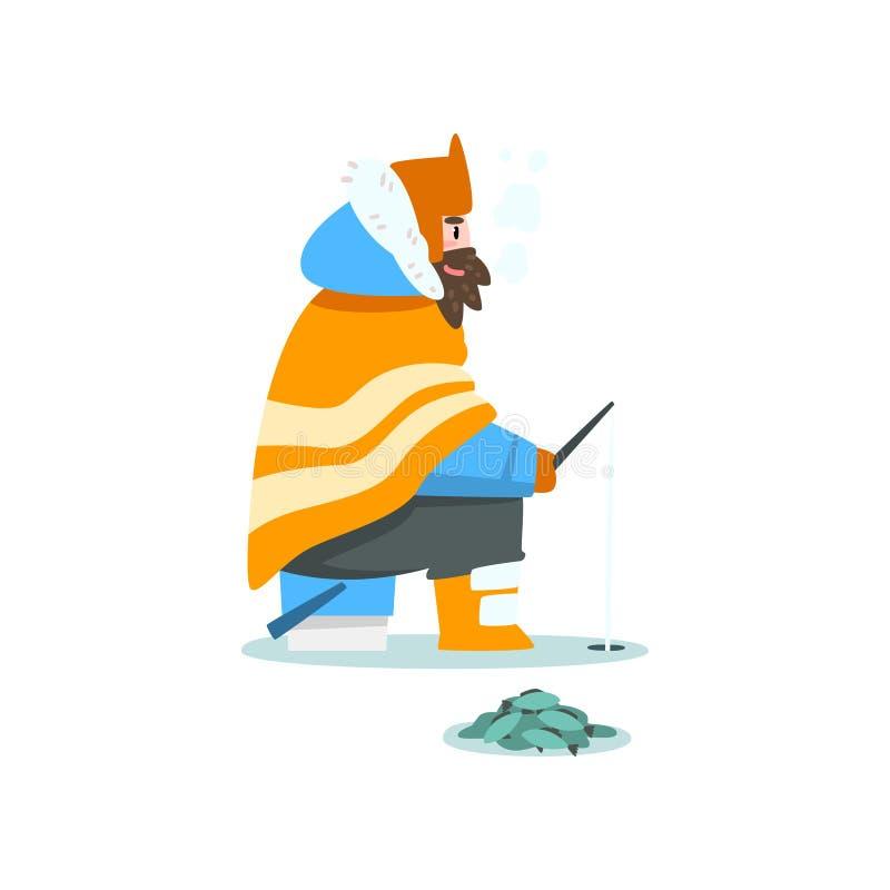 Manfiske i en djupfryst flod eller sjö, extremal isvinterfiske, vektorillustration för utomhus- aktivitet stock illustrationer
