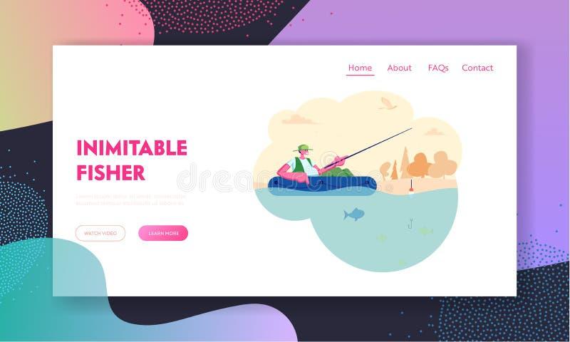 Manfiske i fartyg på den lugna sjön eller floden på sommardagen Koppla av hobby, fiskare Sitting med Rod Having Good Catch, friti stock illustrationer