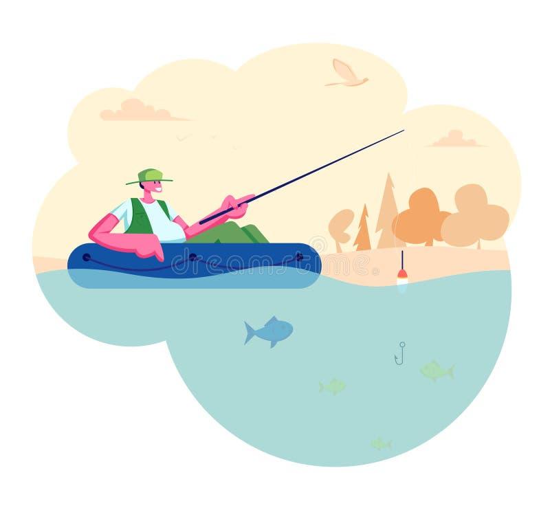 Manfiske i fartyg på den lugna sjön eller floden på sommardagen Koppla av sommartidhobby, Fishman sammanträde med Rod Having Good royaltyfri illustrationer