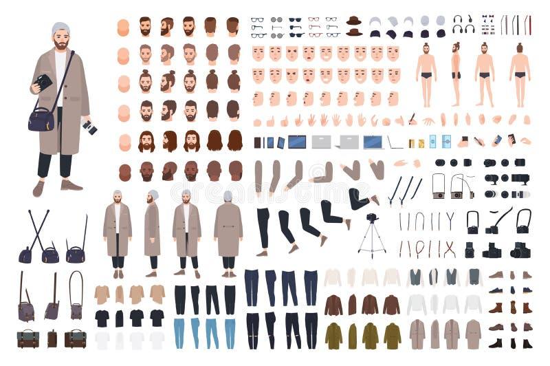 Manfotograf, DIY-sats eller animeringuppsättning Packe av kroppsdelar, kläder, tillbehör för fotografi, fotokamera royaltyfri illustrationer