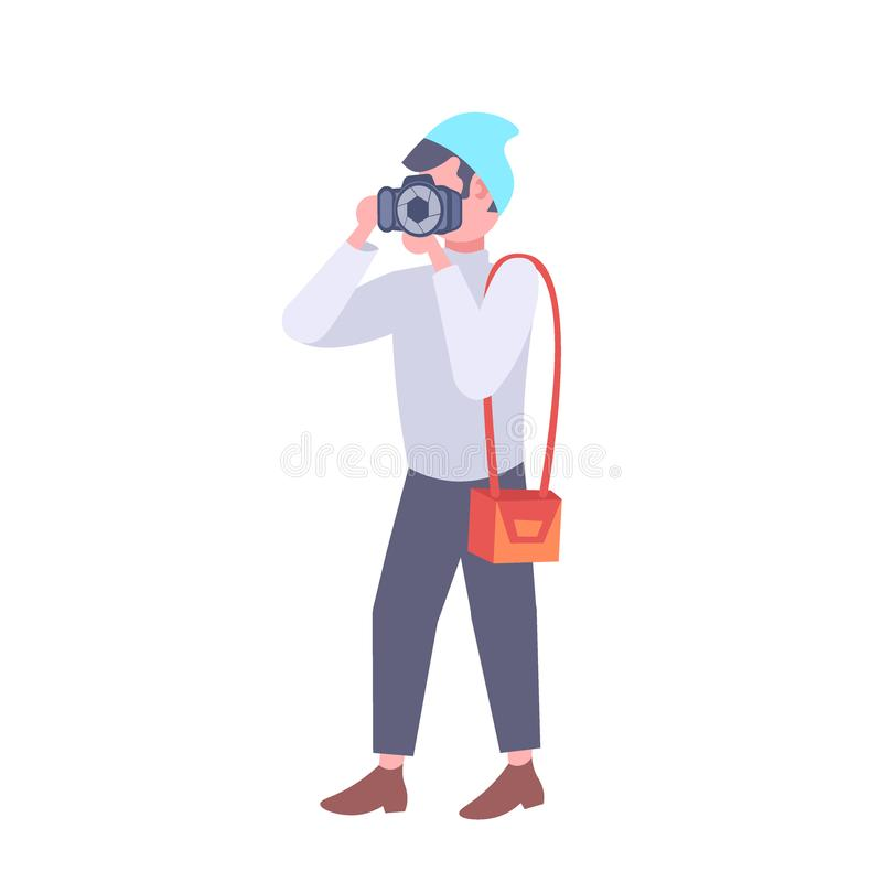 Manfotograf som tar bilden med tecknade filmen för tillfälligt för man för kamera den manliga turist- för journalist för reporter stock illustrationer
