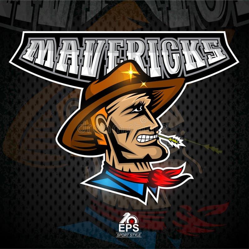 Manframsida i profil med cowboyhatten Logo för några ensamvarger för sportlag vektor illustrationer