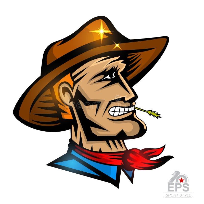 Manframsida i profil med cowboyhatten som isoleras på vit stock illustrationer