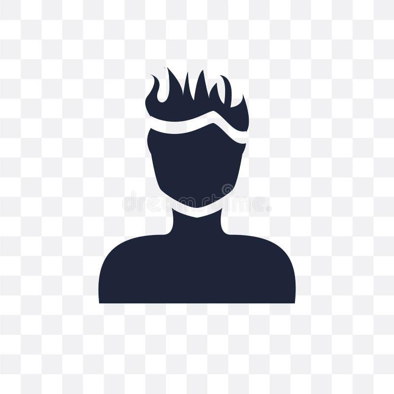 Manframsida med den genomskinliga symbolen för spetsigt hår Manframsida med spetsigt H stock illustrationer