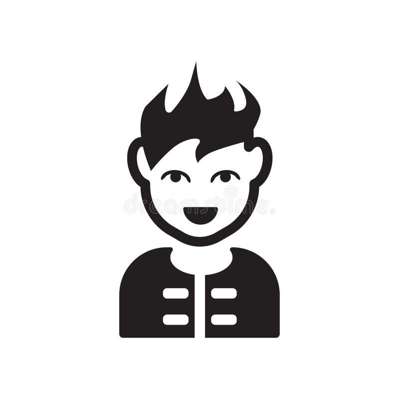 Manframsida med den spetsiga hårsymbolen Moderiktig manframsida med spetsigt hår l stock illustrationer