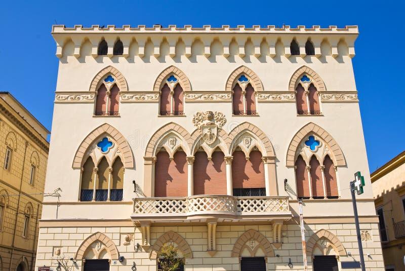 Manfredi宫殿。切里尼奥拉。普利亚。意大利。 免版税库存照片