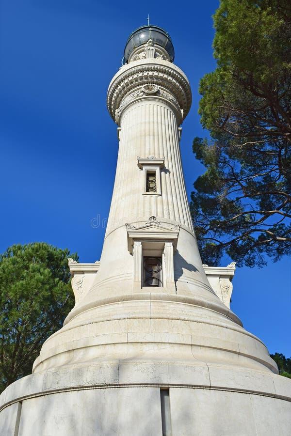 Manfredi Lighthouse på den Gianicolo Janiculum kullen i Rome, Italien arkivfoton
